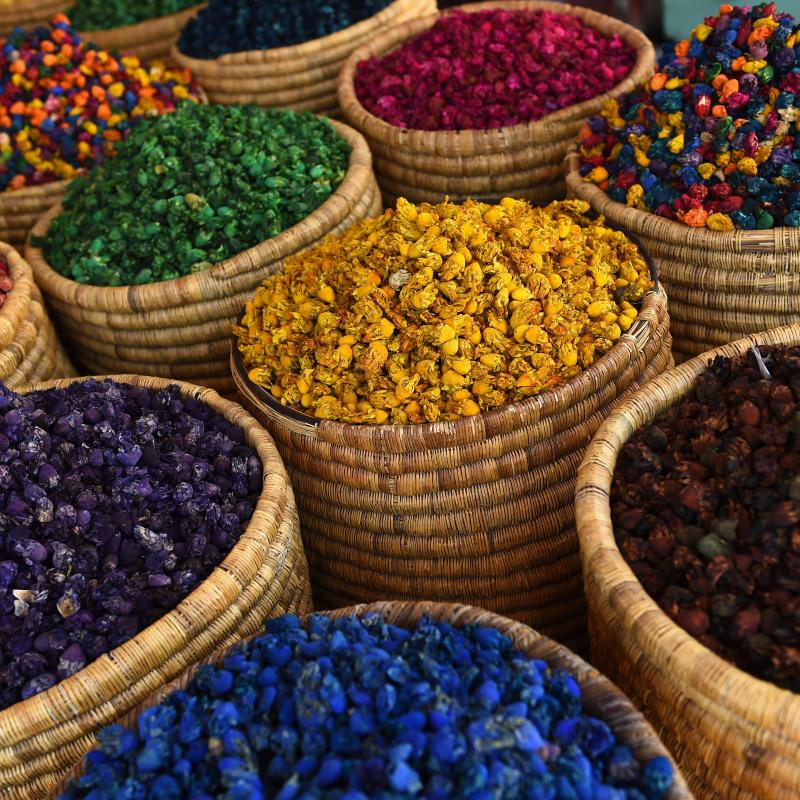 Colorful spices in a market in Marrkech