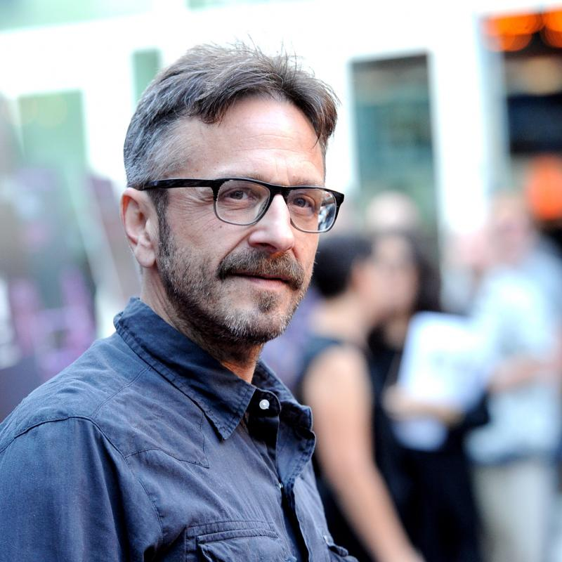 Comedian Marc Maron in a blue shirt