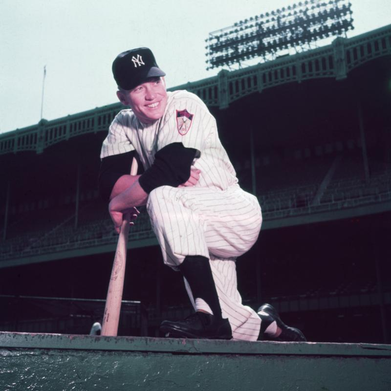 Baseball legend Mickey Mantle wearing a Yankees uniform before a game