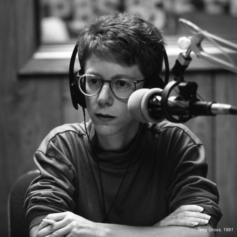 Fresh Air host Terry Gross at her microphone in 1991