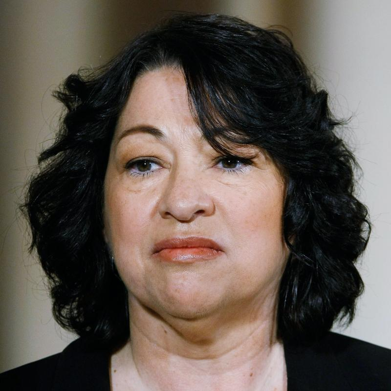 Supreme Court Justice Sonia Sotomayor looks off-camera