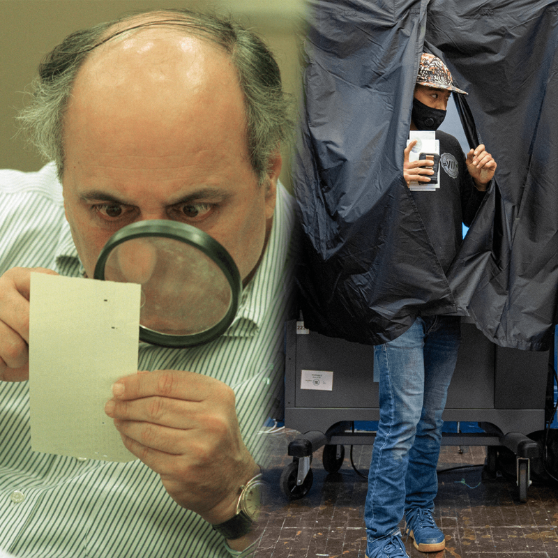 On the left, an election judge looks at Florida butterfly ballot during the 2000 recount. On the right, a woman in a mask exits a 2020 voting booth.