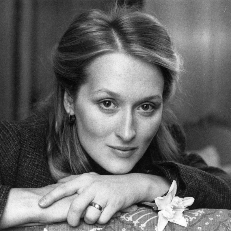 Actress Meryl Streep rests her chin on her hands in this portrait taken in 1980