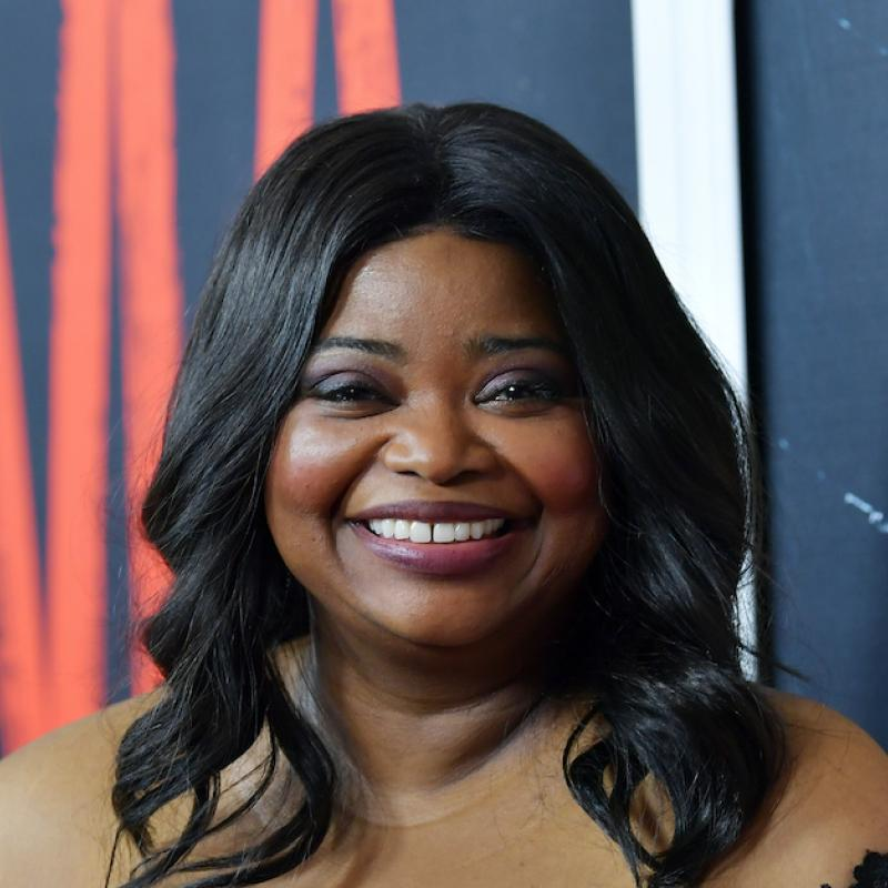 "Actress Octavia Spencer smiles for the camera at a promotional event for the movie ""Ma"""