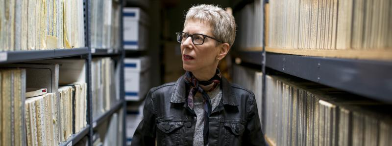 Terry Gross walking through the physical Fresh Air Archive